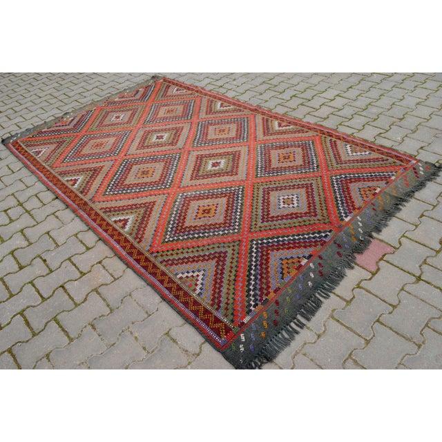 "Vintage Anatolia Turkish Hand Woven Cotton Rug - 5'5"" X 9'2"" For Sale - Image 4 of 10"