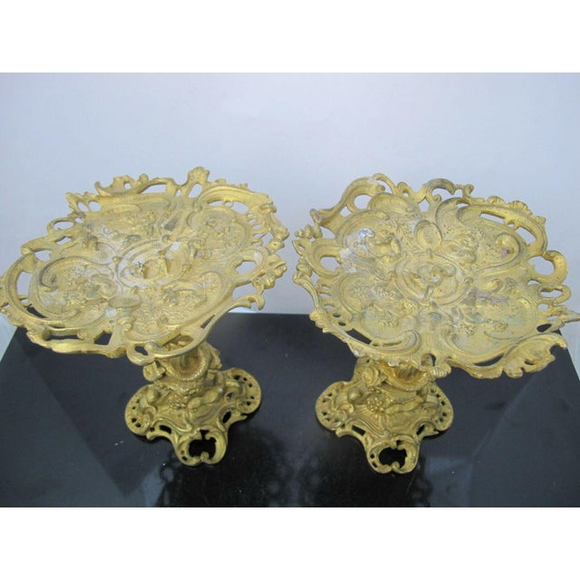 Gorgeous set of 2 Baroque style Ormolu bronze card or candle holders, French, mid 1800's. Elaborate detailed figural...