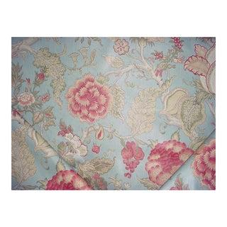 Lee Jofa Darwen Print Pink Lake Printed Cotton Upholstery Fabric - 2 1/4 Yards For Sale