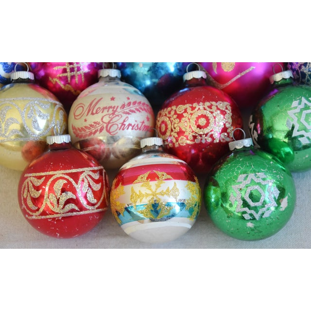 Vintage Colorful Christmas Ornaments W/Box - Set of 12 For Sale - Image 4 of 7