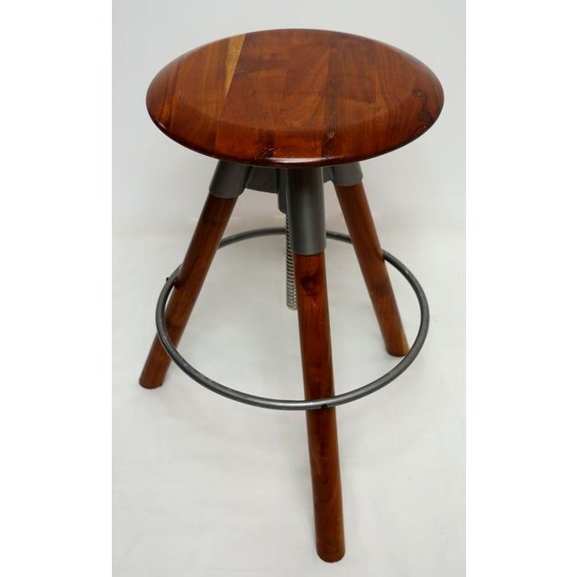 Modern Three Leg Wood & Metal Adjustable Height Swivel Stool For Sale In San Francisco - Image 6 of 13