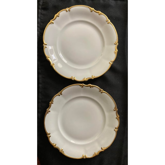 Vintage Hutschenreuther, Bavaria, Germany Pasco 8 Inch Salad Plates, Set of 7. White with thick gold, scalloped edges....