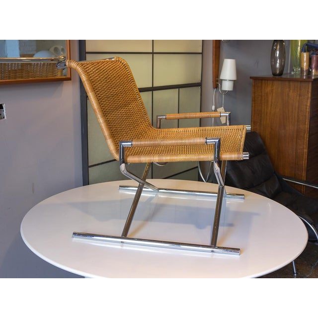 Brickel Associates Ward Bennett Woven Sled Chrome Chair For Sale - Image 4 of 12