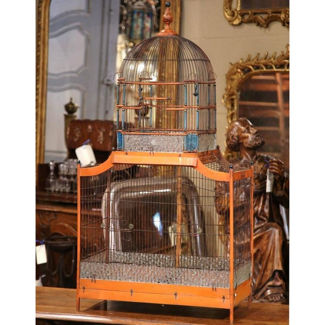 19th Century French Hand-Painted Carved & Wired Birdcage - Image 5 of 8