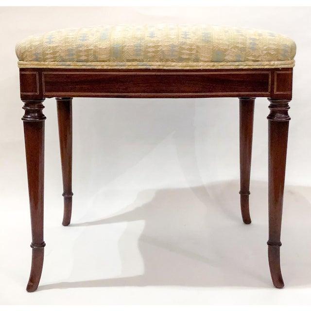 Antique English Mahogany Edwardian Bench, Circa 1890-1900.