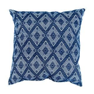 Navy Diamonds Handwoven Pillow