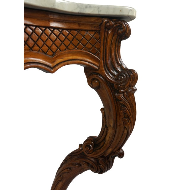 1900s French Wall Mounted Marble Console Table For Sale In Washington DC - Image 6 of 10