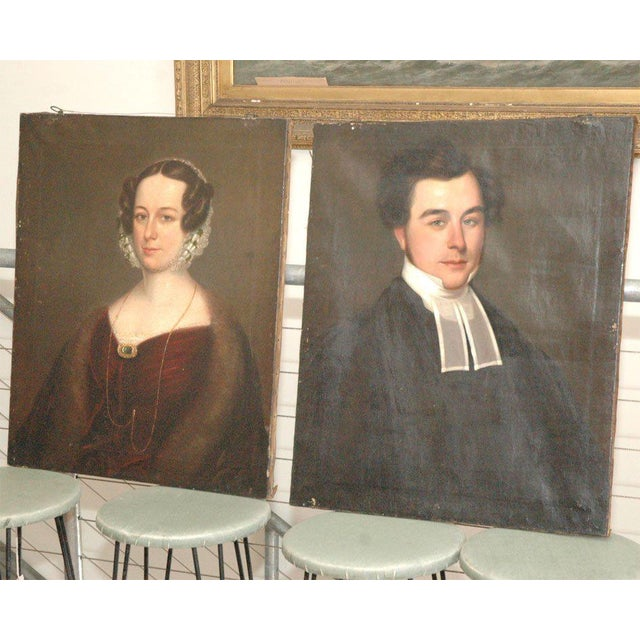 English Antique Portraits - A Pair For Sale - Image 3 of 7