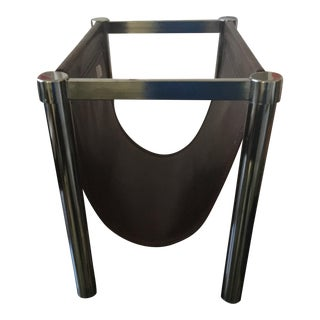 Milo Baughman Chrome/ Faux Leather Magazine Rack