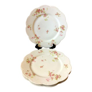 Antique Haviland & Co. Limoges Pink Roses Dinner Plates - Lot of 3 For Sale