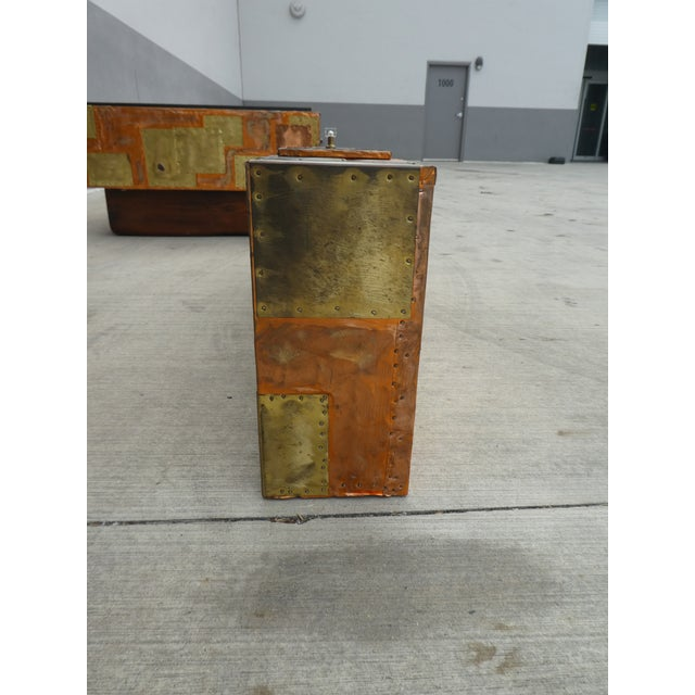 1970's Brutalist Patchwork Wall Console Manner of Paul Evans For Sale - Image 10 of 12