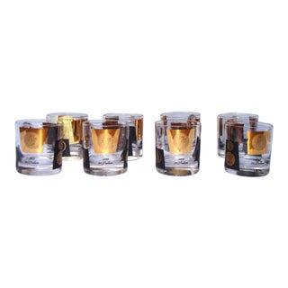 Hollywood Regency 22kt Gold Black Barware Glasses