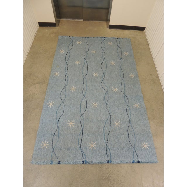 Vintage Edward Fields Infinity Star Blue and White Area Rug - Image 6 of 6