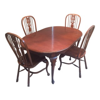 Solid Oak Wood Dining Table With Chairs & Extensions For Sale