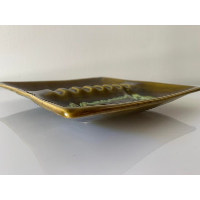 Mid-century large green and brown drip glaze square ashtray circa 1960s. Made in USA. Mint condition.