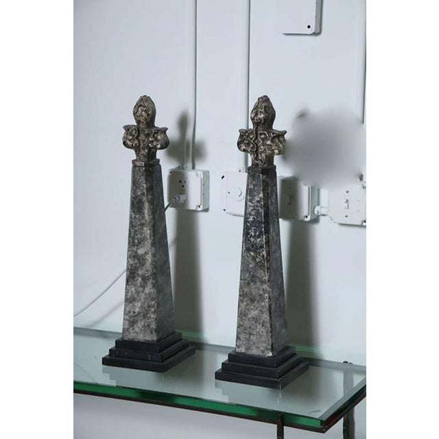 French Pair of Stone and Ceramic Architectural Elements For Sale - Image 3 of 9