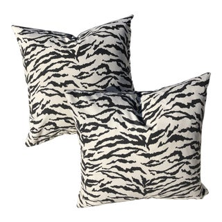 "Tiger Print Outdoor-Indoor 16"" Pillow Covers - a Pair, Custom Made For Sale"