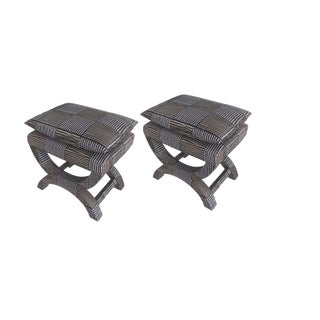 Beacon Hill Embroidered Silk X Benches- Pair For Sale