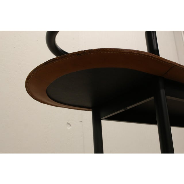 Vintage Ettore Sottsass Postmodern Memphis Group Style Steel and Leather Bench For Sale - Image 12 of 13