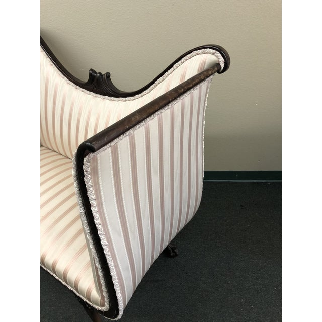 1900s 1900s Empire Ivory and Pink Silk Upholstered Settee For Sale - Image 5 of 10