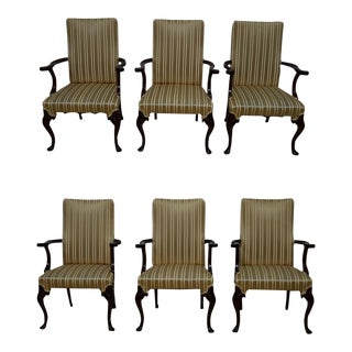 Late 20th Century Mahogany Dining Arm Chairs- Set of 6 For Sale