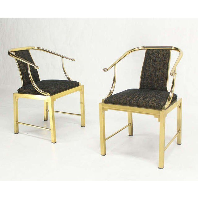 Mid-Century Modern Pair of Brass Barrel Back Chairs by Mastercraft For Sale - Image 9 of 10