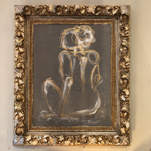 Elaborated Framed Venetian gray nude. Great statement piece.