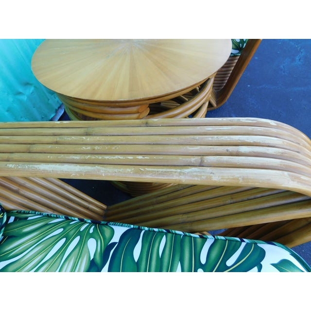 Thirteen Strand Paul Frankl Rattan Chairs & Side Table - Set of 3 For Sale - Image 6 of 11