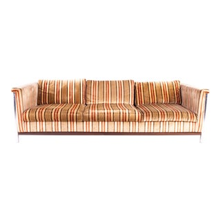 Mid Century Milo Baughman Style Chrome Wood and Velvet Sofa For Sale