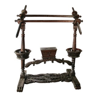 Indian Raj Period Rosewood Hand Carved Loom For Sale