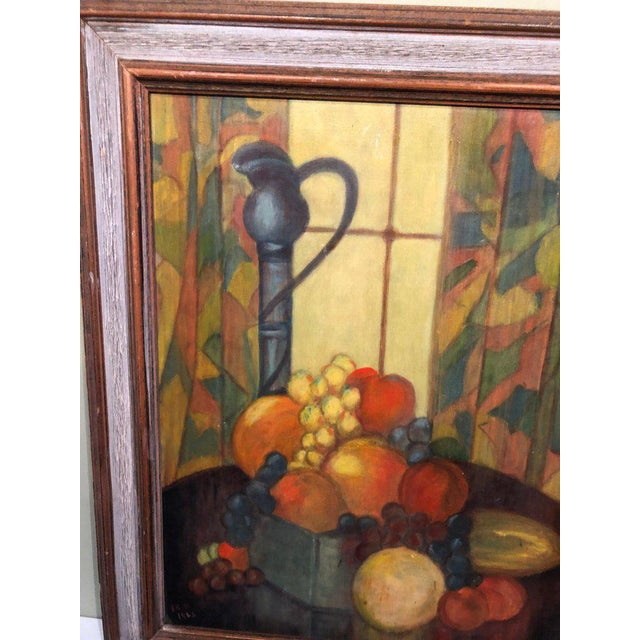Yellow Vintage Mid-Century Still Life on Board Painting For Sale - Image 8 of 13