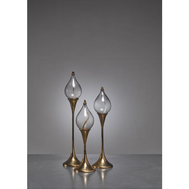 Mid-Century Modern Set of three identical brass oil lamps or candle holders, Denmark For Sale - Image 3 of 4