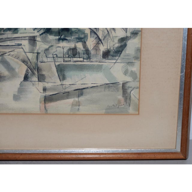 """1954 """"Notre-Dame De Paris Cathedral"""" Watercolor Painting by Riva Helfond For Sale In San Francisco - Image 6 of 10"""