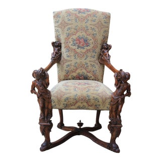 Mid 19th Century Antique Italian Besarel Walnut Arm Chair For Sale