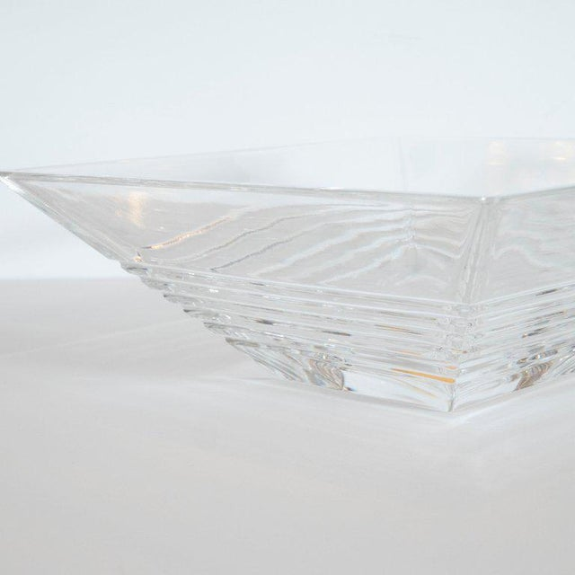 Art Deco Style Stepped Translucent Crystal Decorative Bowl by Tiffany & Co. For Sale In New York - Image 6 of 8