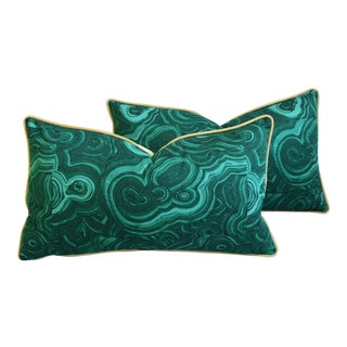 "Designer Jim Thompson Emerald Malachite Green Feather/Down Pillows 26"" X 15"" - Pair For Sale"