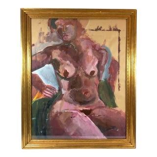 Gilt Framed Expressive Gouache on Paper - Magenta Nude Woman For Sale