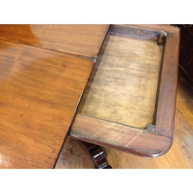 Empire Burl Mahogany Swivel Top Game Table For Sale - Image 9 of 13