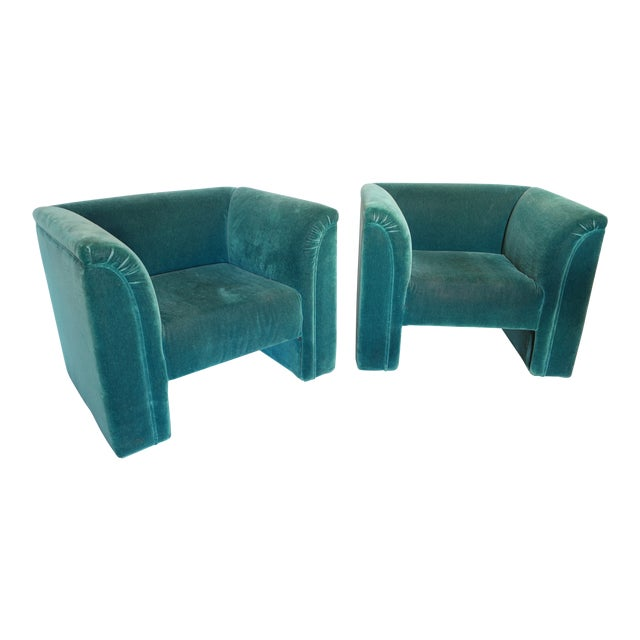 Vintage Blue- Green Mohair Club Chairs - a Pair For Sale
