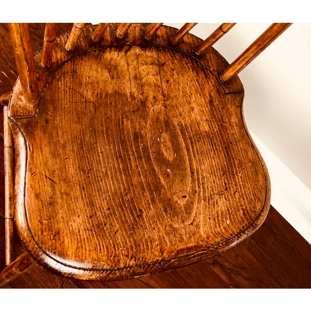 Wood Early 19th Century Antique Fan Back Windsor Chair For Sale - Image 7 of 9
