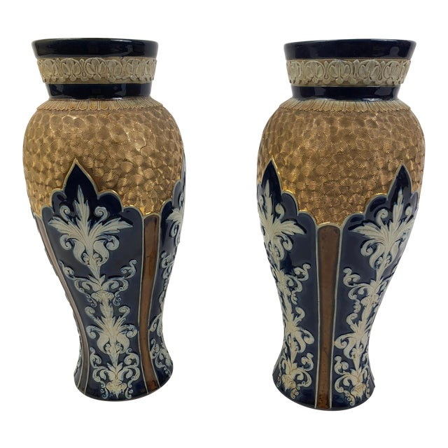 """Pair of Royal Doulton Lambeth Blue and Gilt Ceramic Vases in """"Gilt Circle Pattern with Enamel"""", circa 1876-1925 For Sale"""