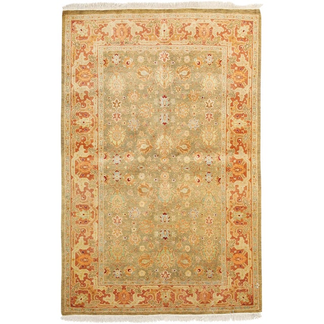 "New Traditional Hand Knotted Area Rug - 4'1"" x 6'3"" - Image 1 of 3"