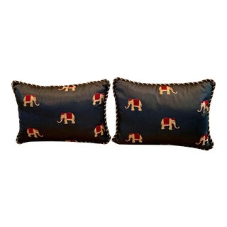 Navy Silk Pillows With Elephants - a Pair For Sale