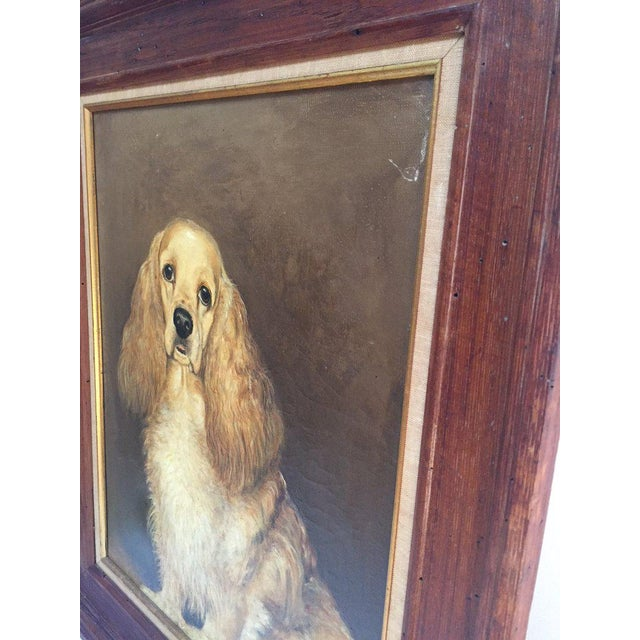 1960s Vintage Mid-Century Cocker Spaniel Portrait Oil Painting For Sale - Image 5 of 13