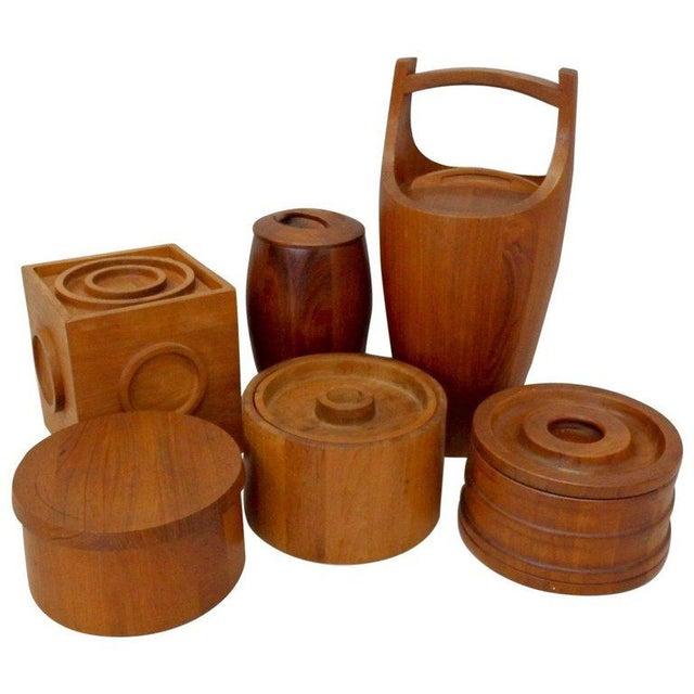 Brown Collection of Danish Dansk Teak Quistgaard Ice Buckets For Sale - Image 8 of 8