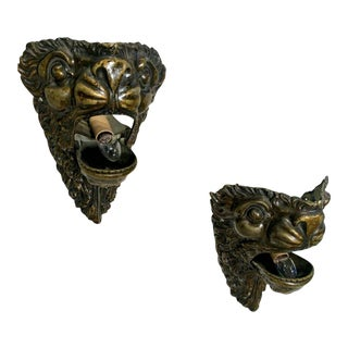 19th Century Brass Lion Electrified Wall Sconces - a Pair For Sale