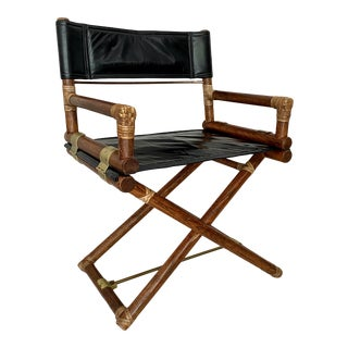 McGuire Leather and Rattan Campaign Style Director's Chair For Sale
