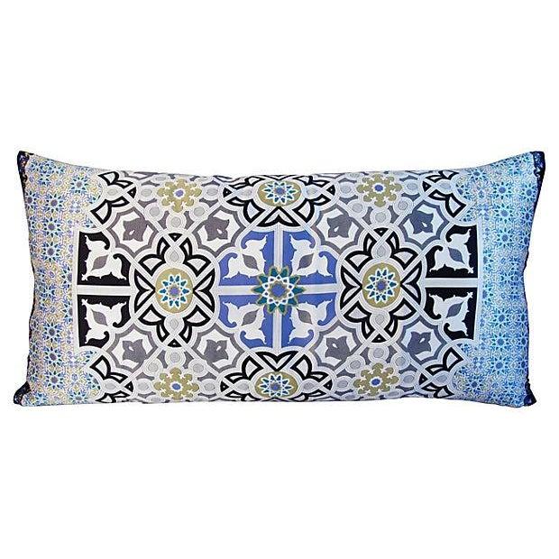 "Jumbo Italian Silk Andalusian Moorish Feather/Down Lumbar Pillow 37"" X 18"" For Sale In Los Angeles - Image 6 of 8"