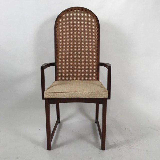 Caning Set of Six Milo Baughman High Back Cane and Walnut Dining Chairs for Directional For Sale - Image 7 of 11