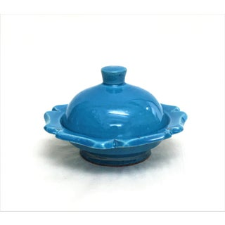 Hand Painted Blue Small Ceramic Serving Dish with Lid- Floral Design Preview